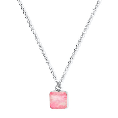 close up of square pink pendant chain necklace for breast cancer awareness gives back to research