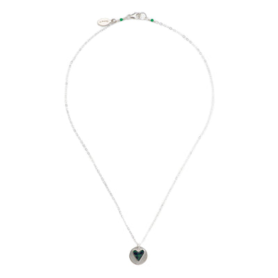 short silver necklace with sterling silver chain and heart pendant