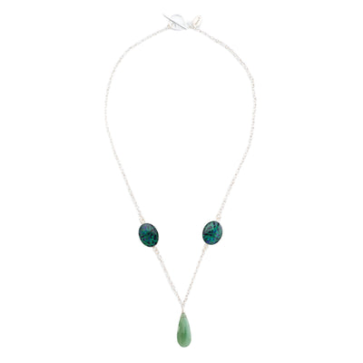 short chain necklace, sterling silver chain with green quartz stone and green and blue oval stones set in sterling silver pendant necklace