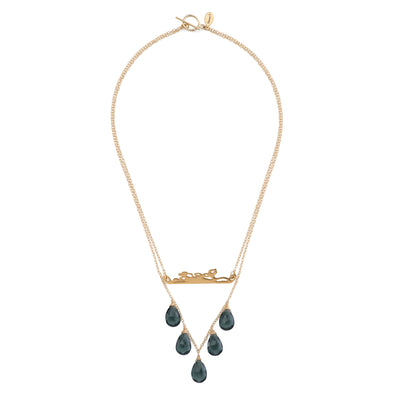 short chain necklace, 14k gold filled double chain with blue quartz teardrops and14k gold filled bar pendant