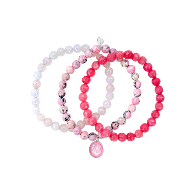 Pink jade, rose quartz, rhodochrosite stretch awareness bracelets with breast cancer oval resin pendant