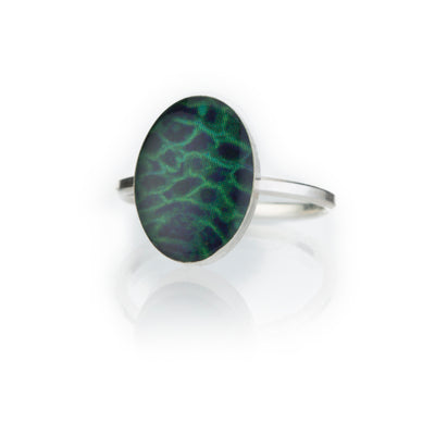 silver ring with sterling silver band and oval green and blue resin stone setting ring