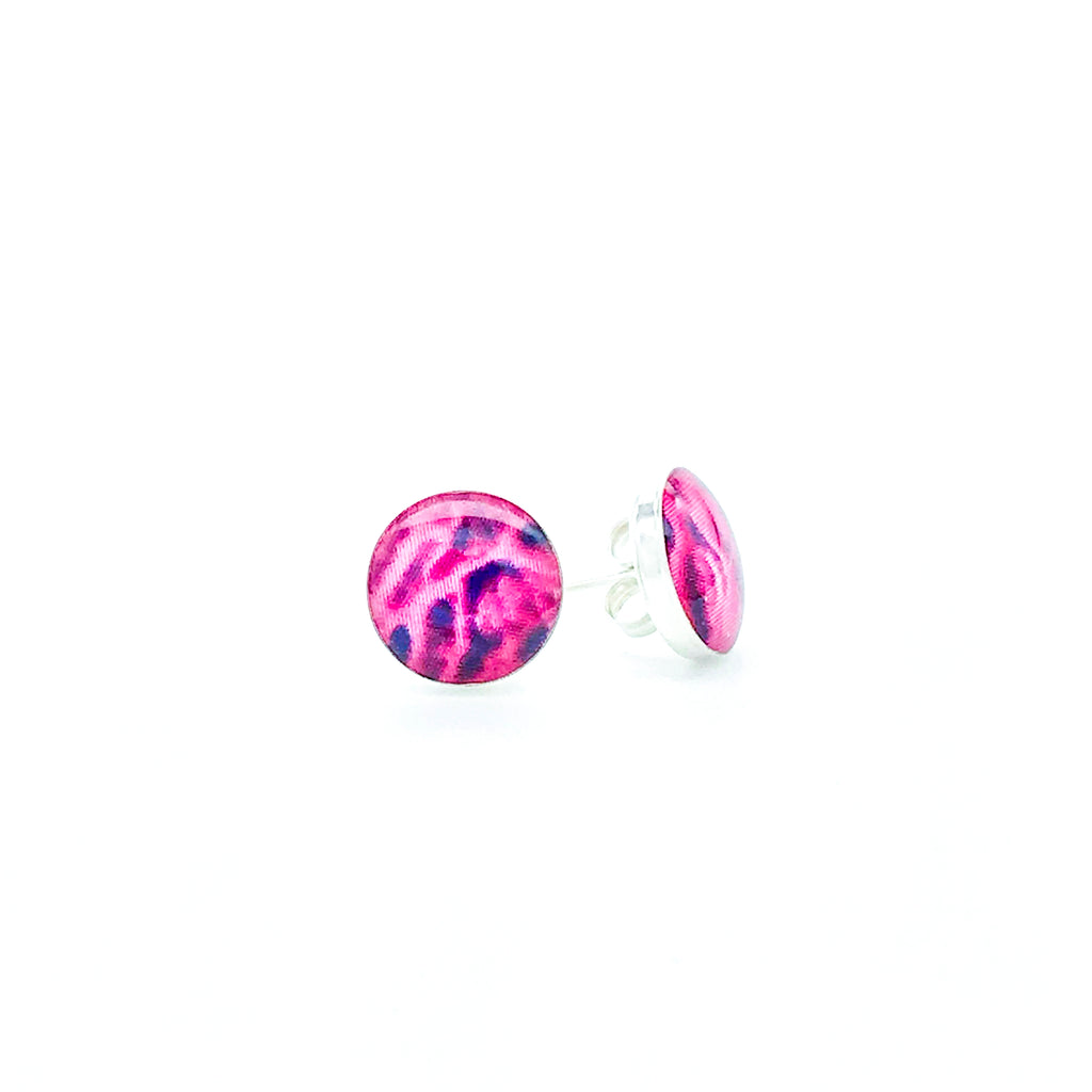 sterling silver studs with purple and pink images set in resin post earrings