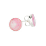 silver studs, sterling silver stud earrings with pink and white stones