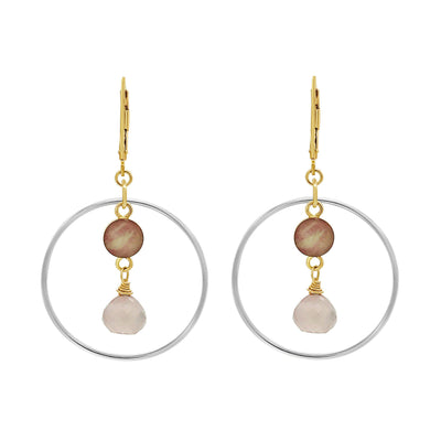 mixed metal sterling silver and 14k gold filled hoop earrings with small round breast cancer cell image in center of round silver hoop with rose quartz stone dangle