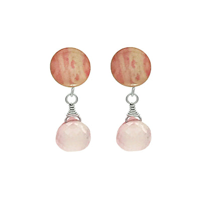 sterling silver stud with breast cancer cell image under resin and faceted rose quartz dangle