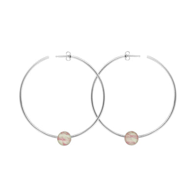 power hoop earrings for breast cancer research and awareness with pink pendants