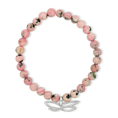pink Rhodocrosite breast cancer awareness bracelet