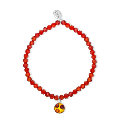 COVID 19 stretch bracelet with 4mm faceted carnelian beads and small round sterling silver pendant with an image of the covid virus under resin helps fund the WHO Solidarity response fund and the covid vaccine