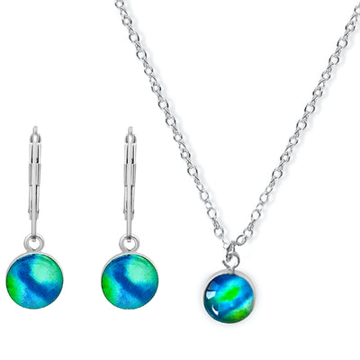 Blue and green magnify awareness jewelry set gives back to charity for diabetes