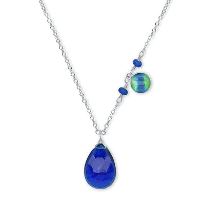 close up of blue and green diabetes warrior awareness necklace that gives back to charity