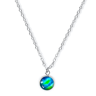 close up of Blue and green pendant on chain necklace for Diabetes research and awareness