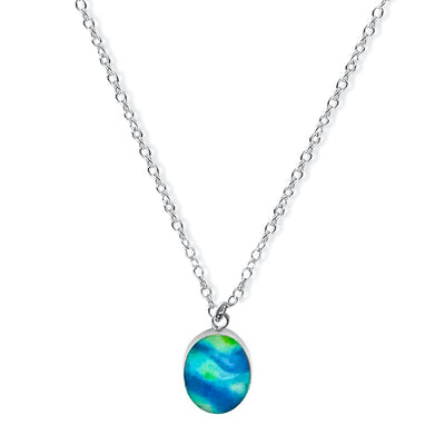 blue and green oval pendant on chain for diabetes awareness gives back to charity