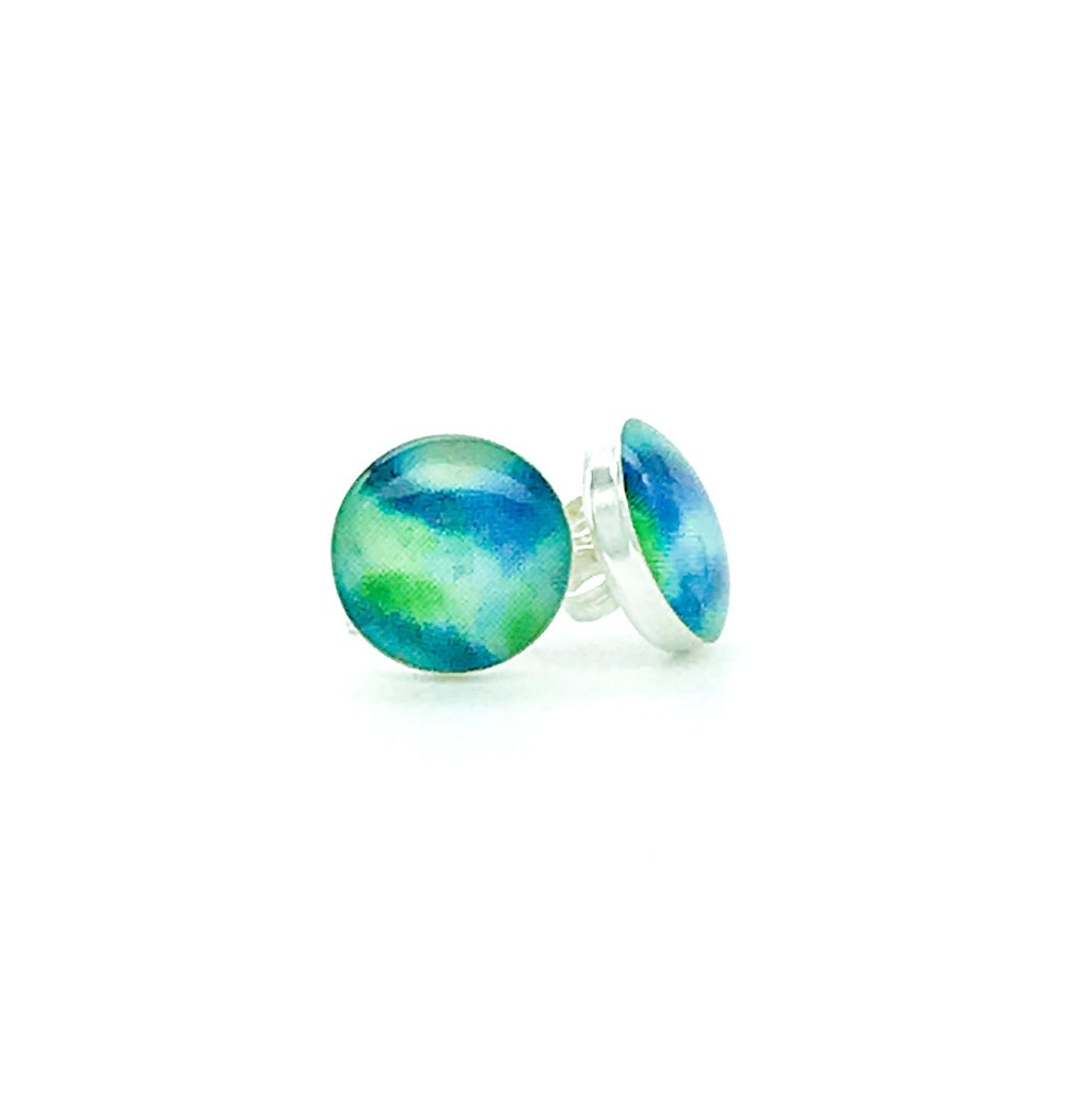 sterling silver studs with green and blue images set in resin post earrings