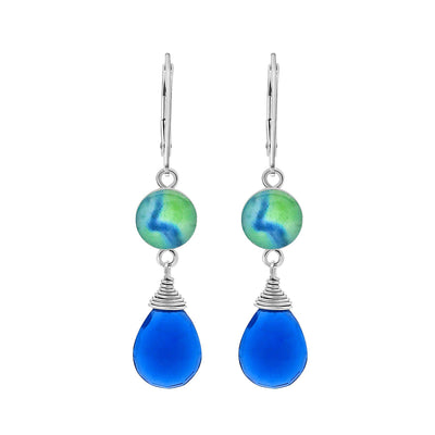 royal blue quartz diabetes awareness Earrings in sterling silver