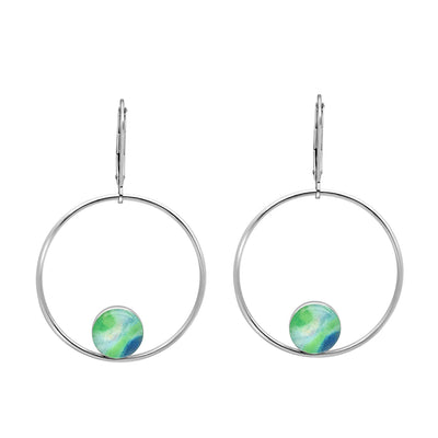 unity hoop earrings for Diabetes awareness, sterling silver large hoops with smaller circular pendants at bottom of diabetes scientific image under resin