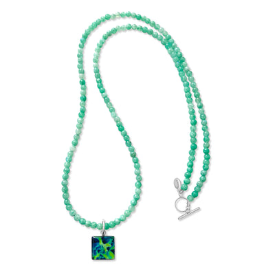 long beaded mint green moonstone necklace for HIV and AIDS awareness