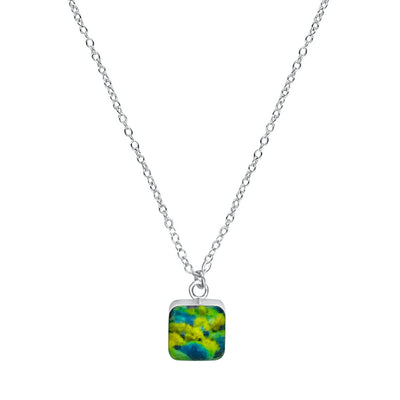 close up of square blue, green and yellow pendant chain necklace for HIV AIDS awareness gives back to research