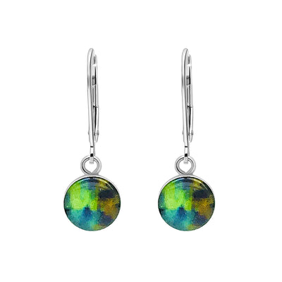 Blue and green sterling silver earrings for HIV and AIDS awareness with resin pendants on lever backs