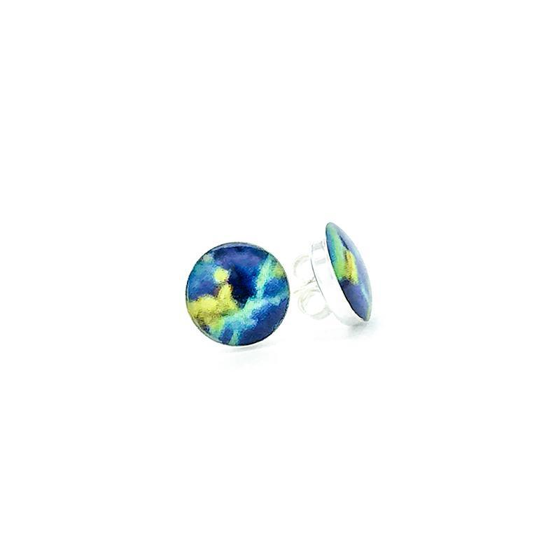 sterling silver studs with yellow blue and green images set in resin post earrings