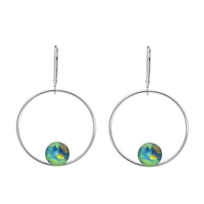 unity hoop earrings for HIV AIDS awareness, sterling silver large hoops with smaller circular pendants at bottom of HIV AIDS scientific image under resin