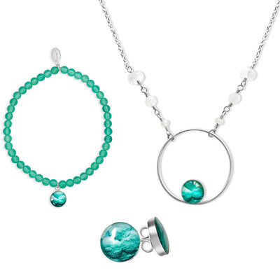 Teal infertility awareness jewelry set that promotes fertility and gives back to charity