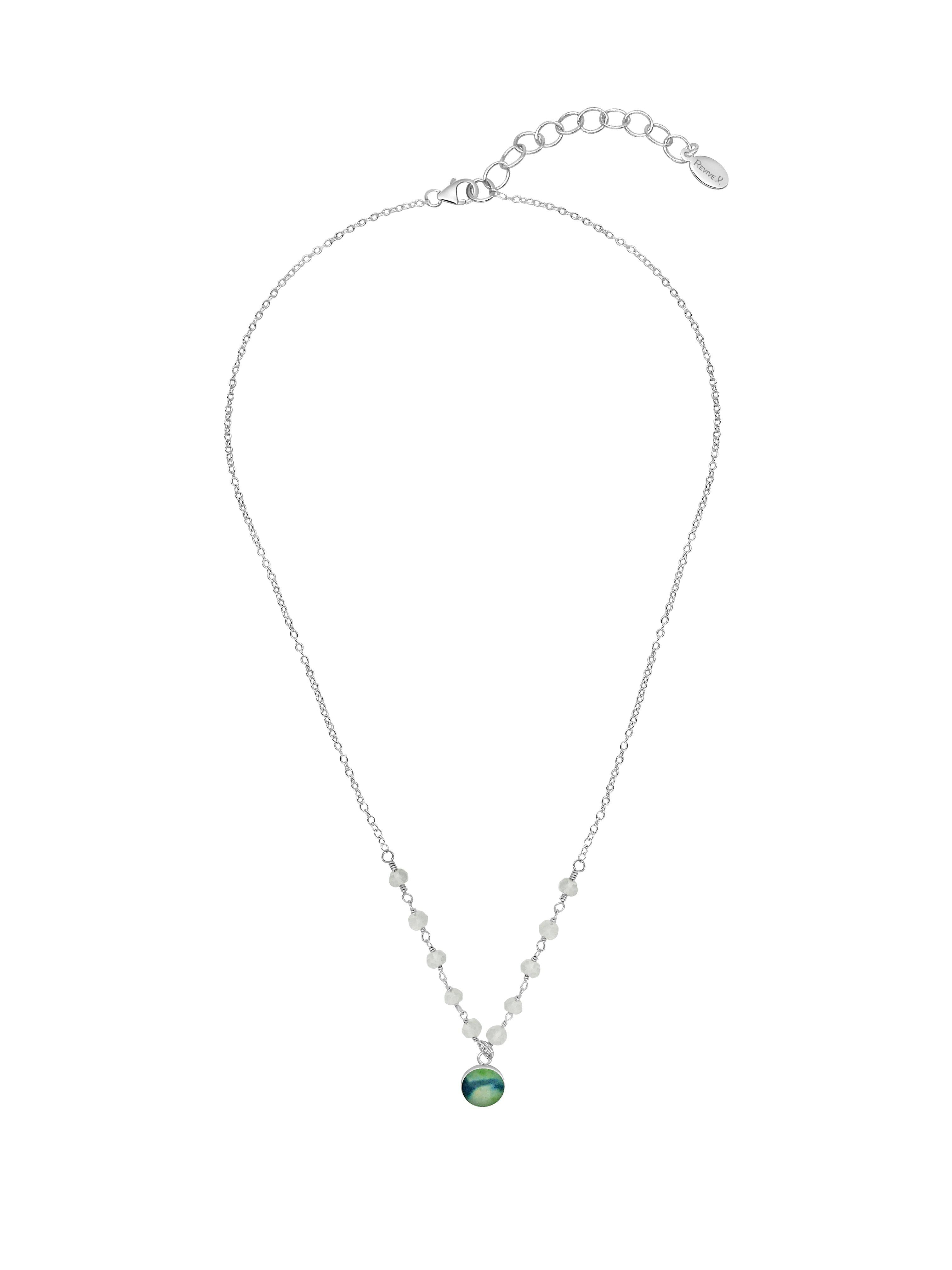 Sterling Silver Necklace With Green Stones 16 Inches Adjustable