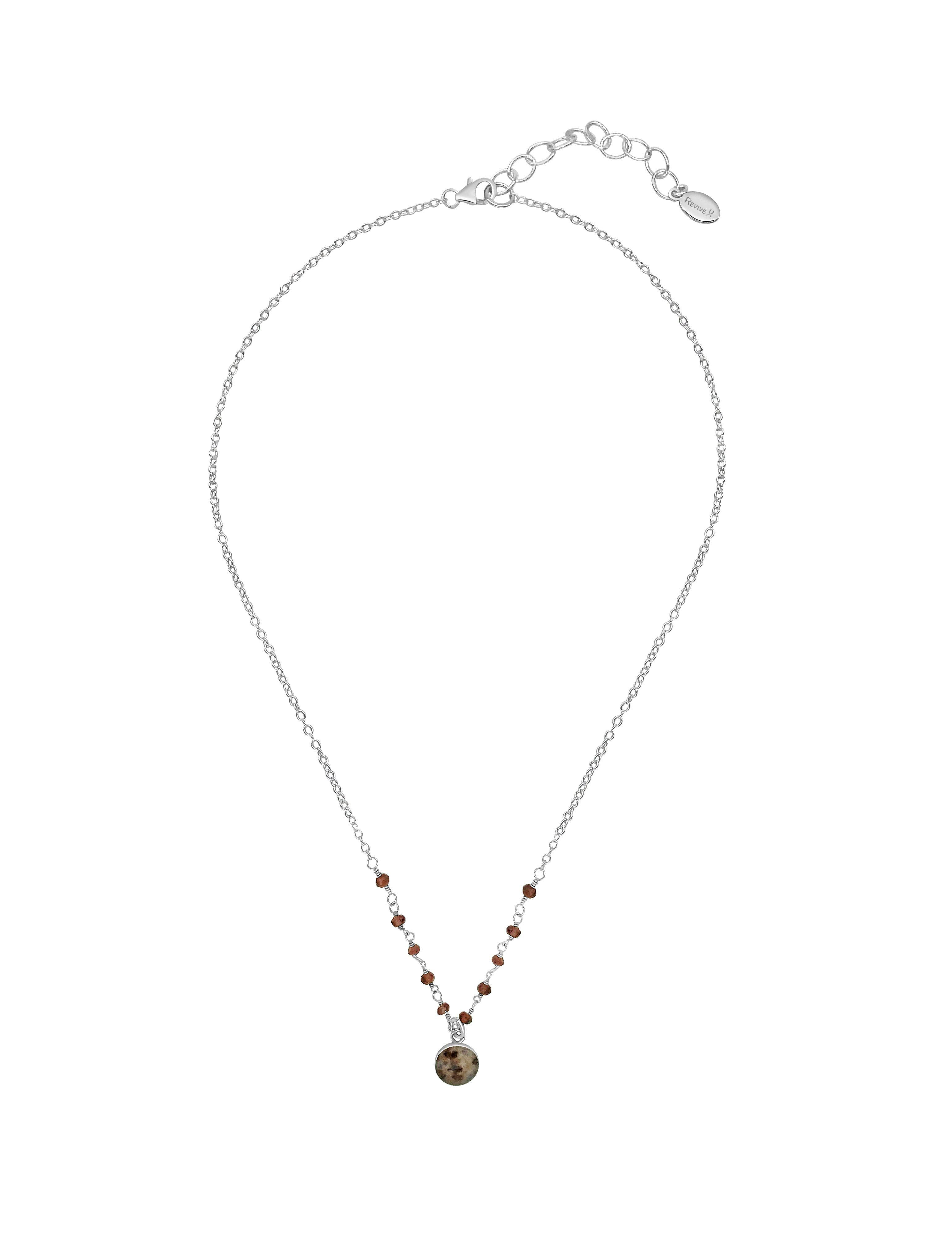 16 inch to 18 inch adjustable sterling silver chain with faceted garnet stones across the front with a small round brown, beige and maroon pendant of a multiple sclerosis cell image in resin hanging from the center