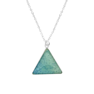 close up of triangle shaped multiple sclerosis awareness necklace with short silver chain and shades of light blues cell image in resin