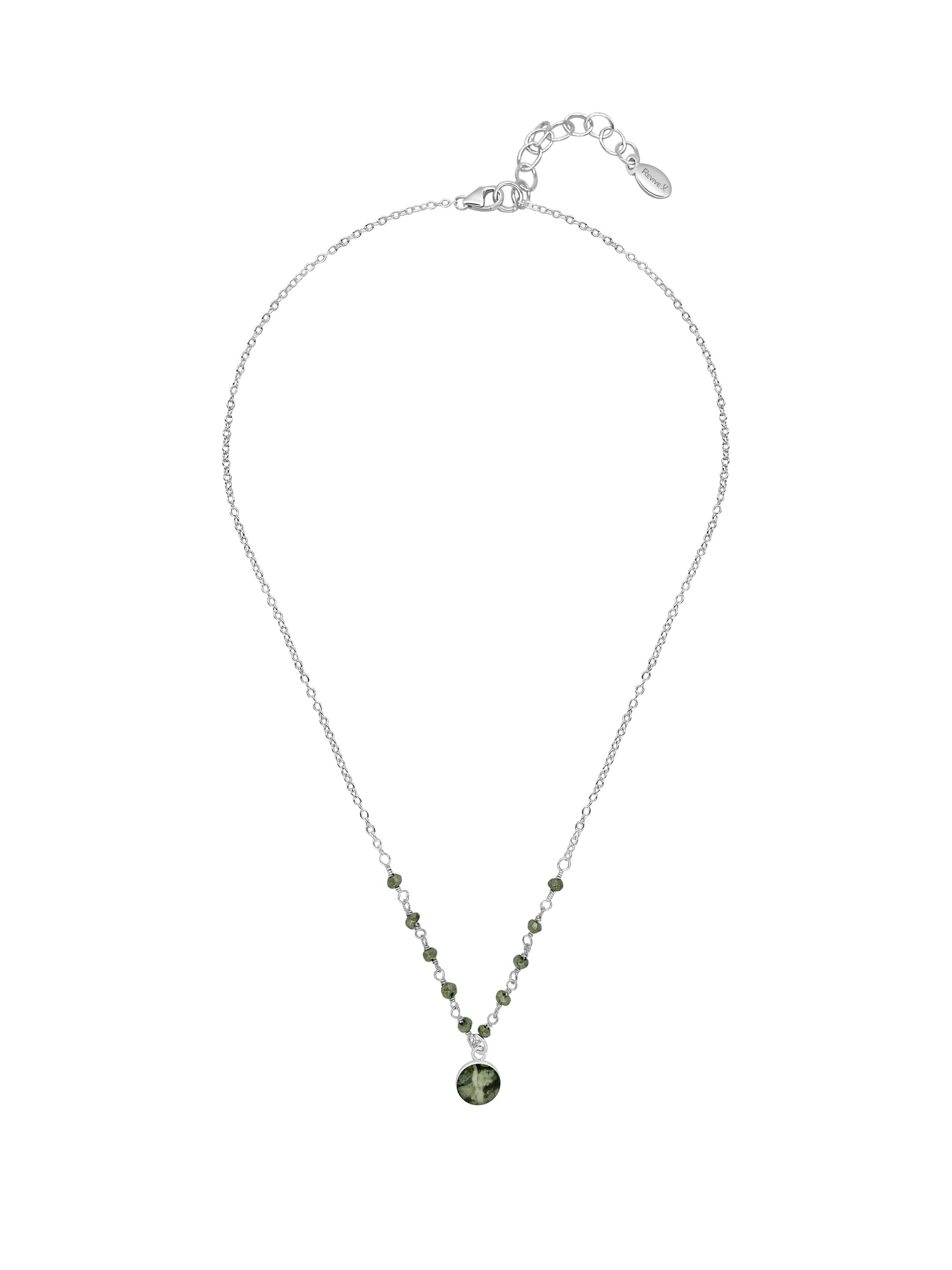 16 inch to 18 inch adjustable sterling silver chain necklace with small silver pyrite stones across the front and a small round pendant hanging from the center of a lung cancer cell image in resin