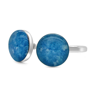 sterling silver adjustable blue ring for multiple sclerosis awareness