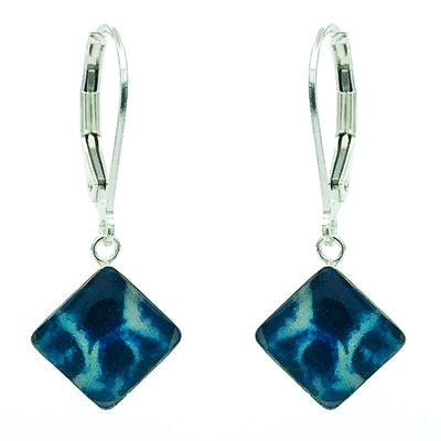 blue diamond shaped pancreatic cancer awareness pendant earrings that give back to charity