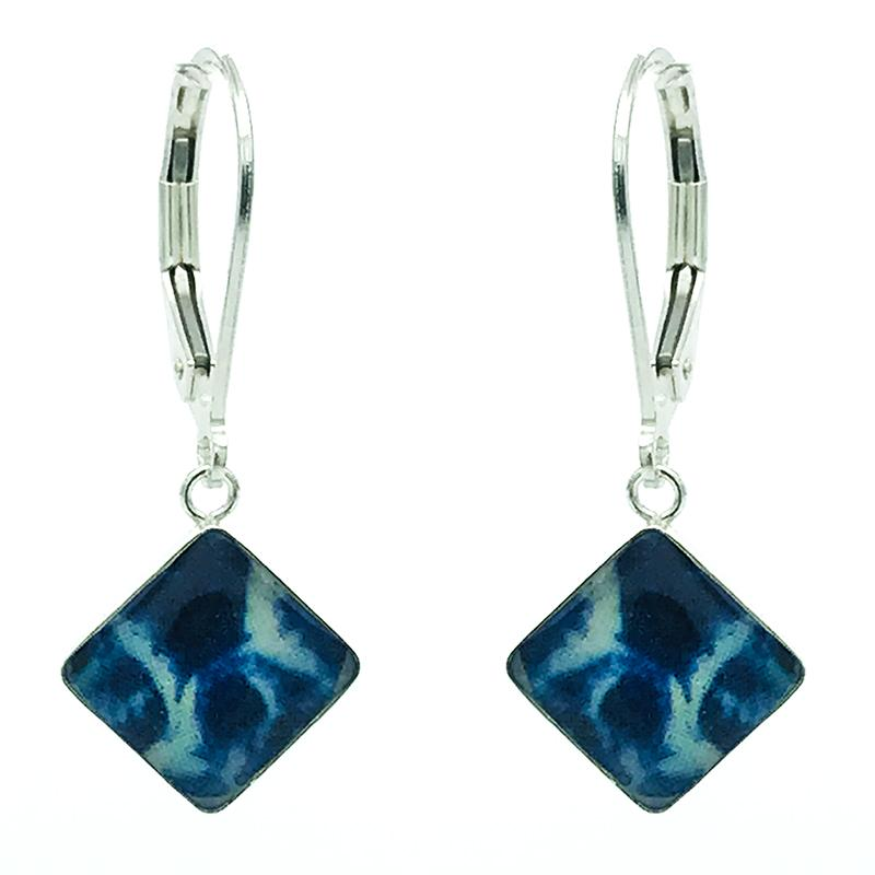 diamond shaped sterling silver leverback earrings with pancreatic cancer cell images in resin for Cancer patient