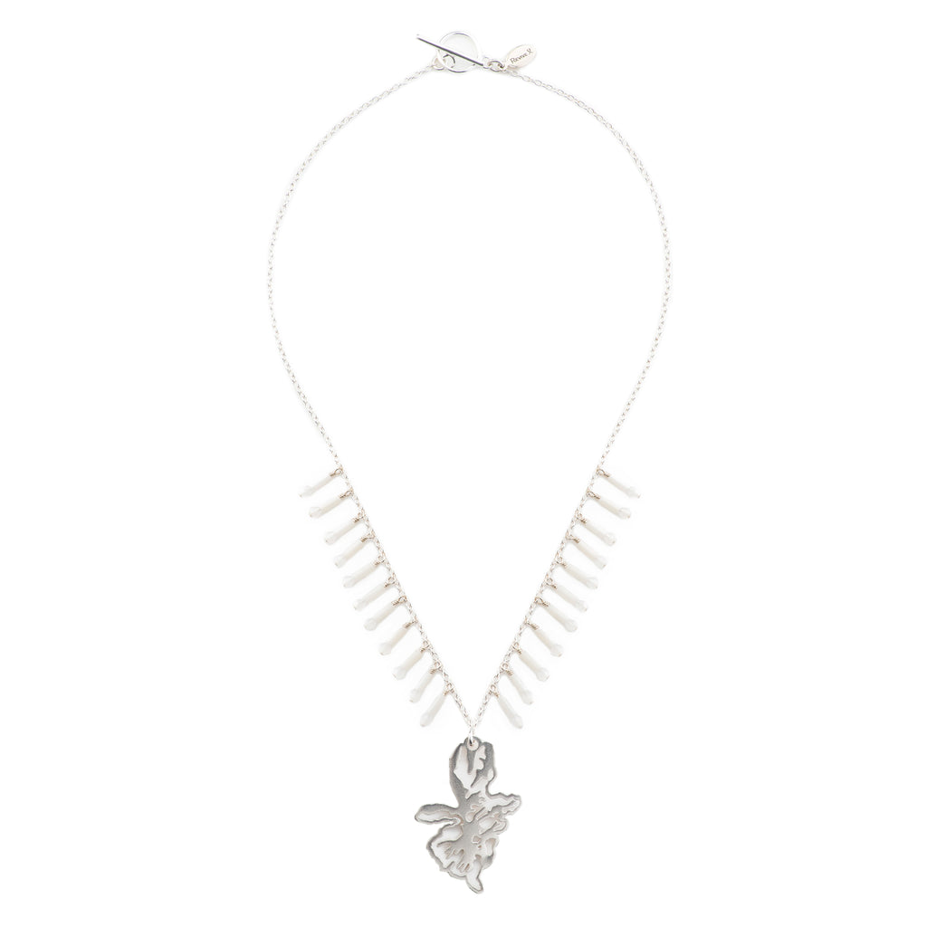 Mikey Pendant with Chain & Coral fringe