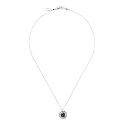 short chain necklace, sterling silver chain with round coin pendant and black and white sterling silver pendant necklace