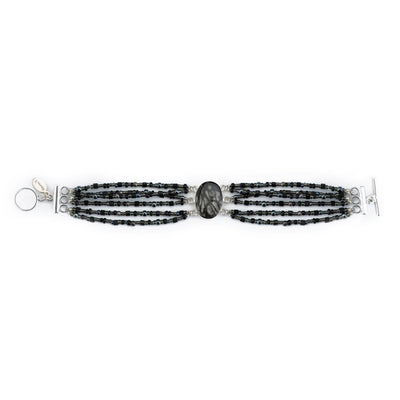 silver beaded bracelet, six strands of black seed bead mix and black and white center sterling silver pendant bracelet