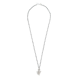 long silver necklace, spinel stone chain with sterling silver pendant necklace
