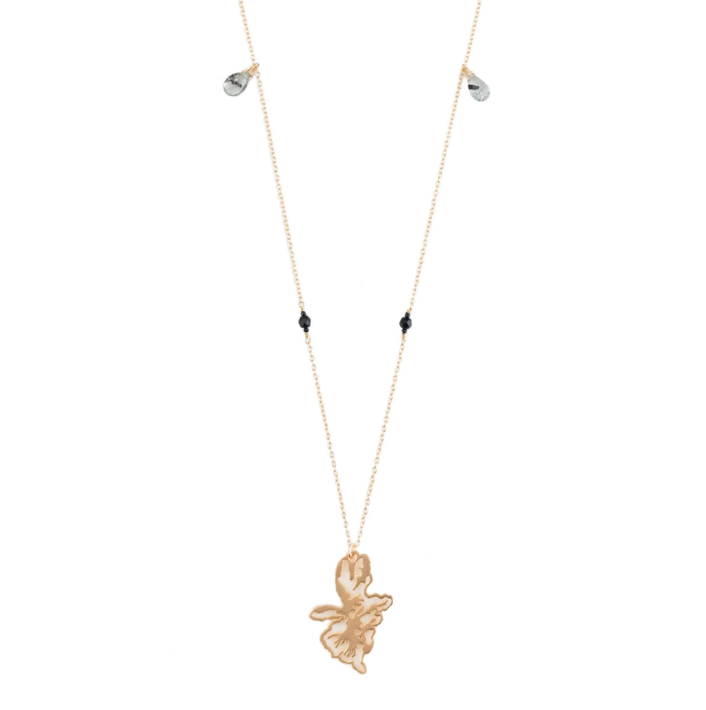 long gold necklace with 14k gold filled chain, spinel, rutilated quartz stones and 14k gold plated pendant necklace