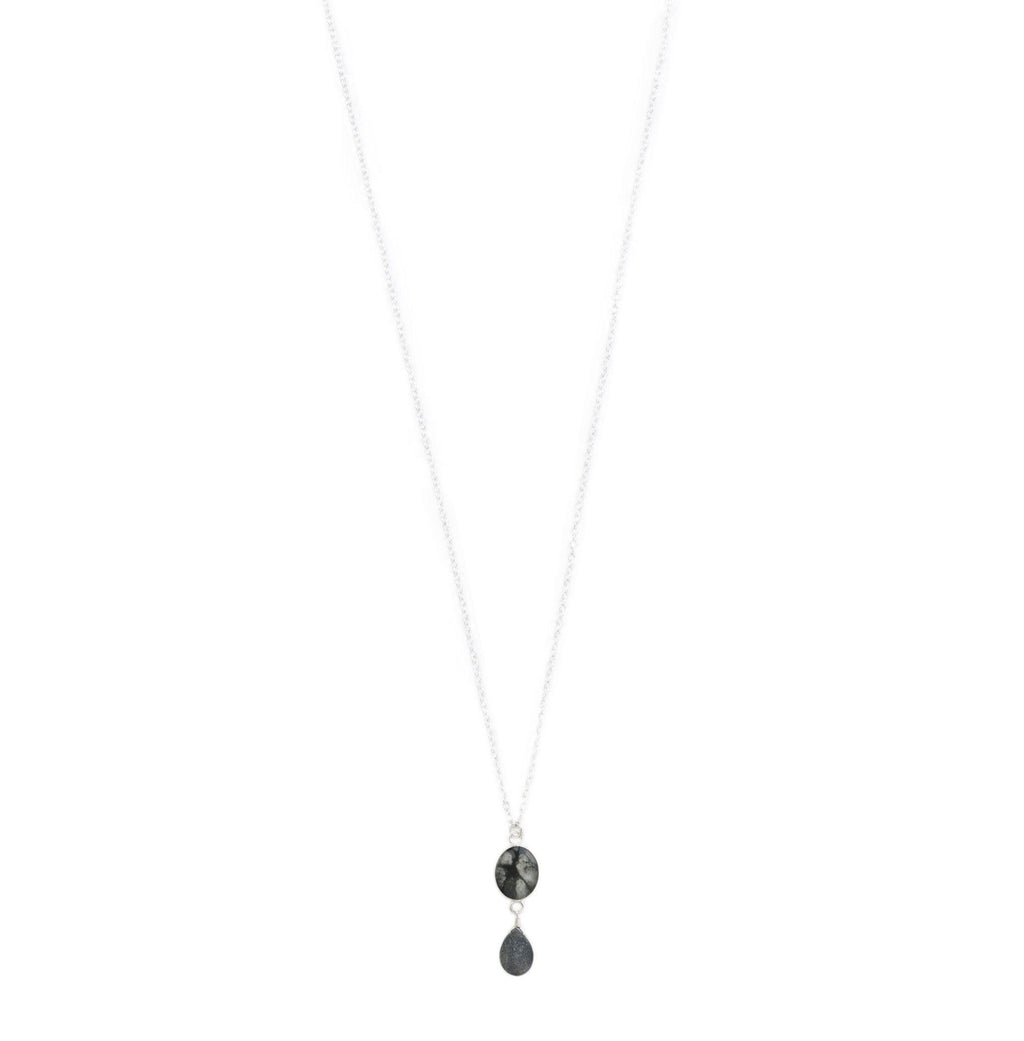long silver chain necklace with sterling silver chain, druzy stone and black and white oval stone sterling silver pendant necklace