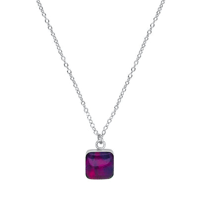 close up of square purple pendant chain necklace for lung cancer awareness gives back to research