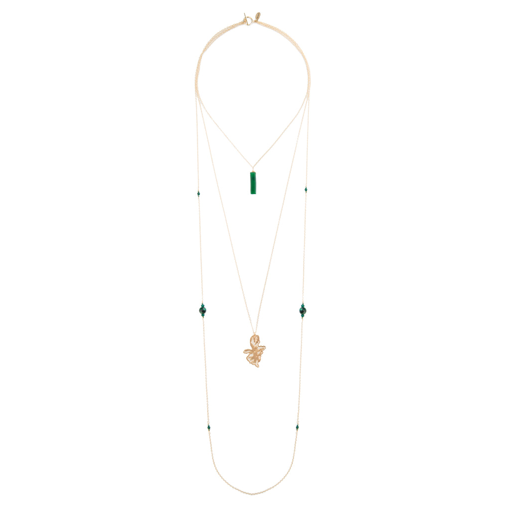 layered gold necklace, triple chain necklace, 14k gold chain with aventurine, tiger's eye, chalcedony, hematite and jade stones with 14k gold plated pendant necklace