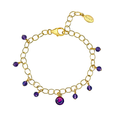 adjustable chain bracelet with amethyst stones and lung cancer awareness pendant