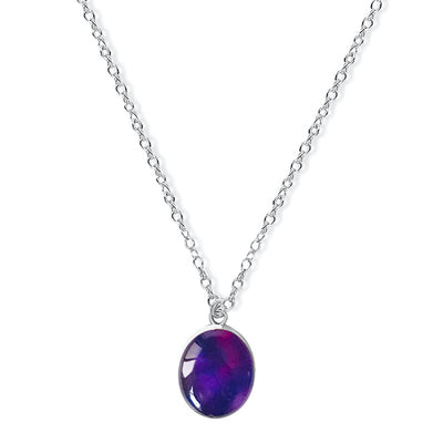 close up of purple lung cancer awareness necklace gives back to charity