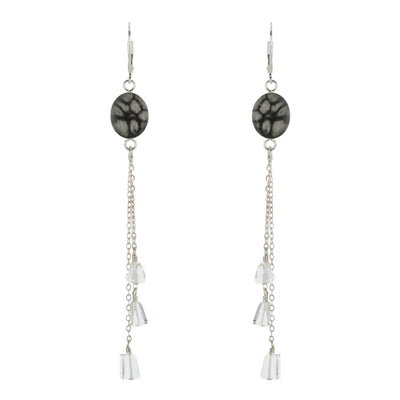 chandelier earring, sterling silver chain with crystal quartz stones and black and white sterling silver chandelier earrings