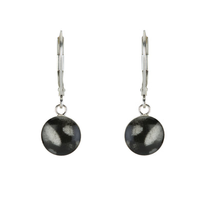 silver earrings, sterling silver earrings with black and white resin pendants on sterling silver leverbacks