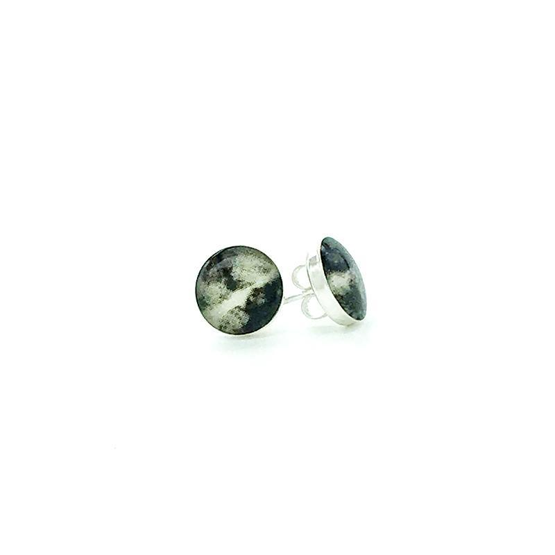 sterling silver studs with gray and black images set in resin post earrings