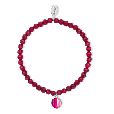 awareness stretch bracelet with magenta chalcedony and small round sterling silver pendant with lupus cell image under resin