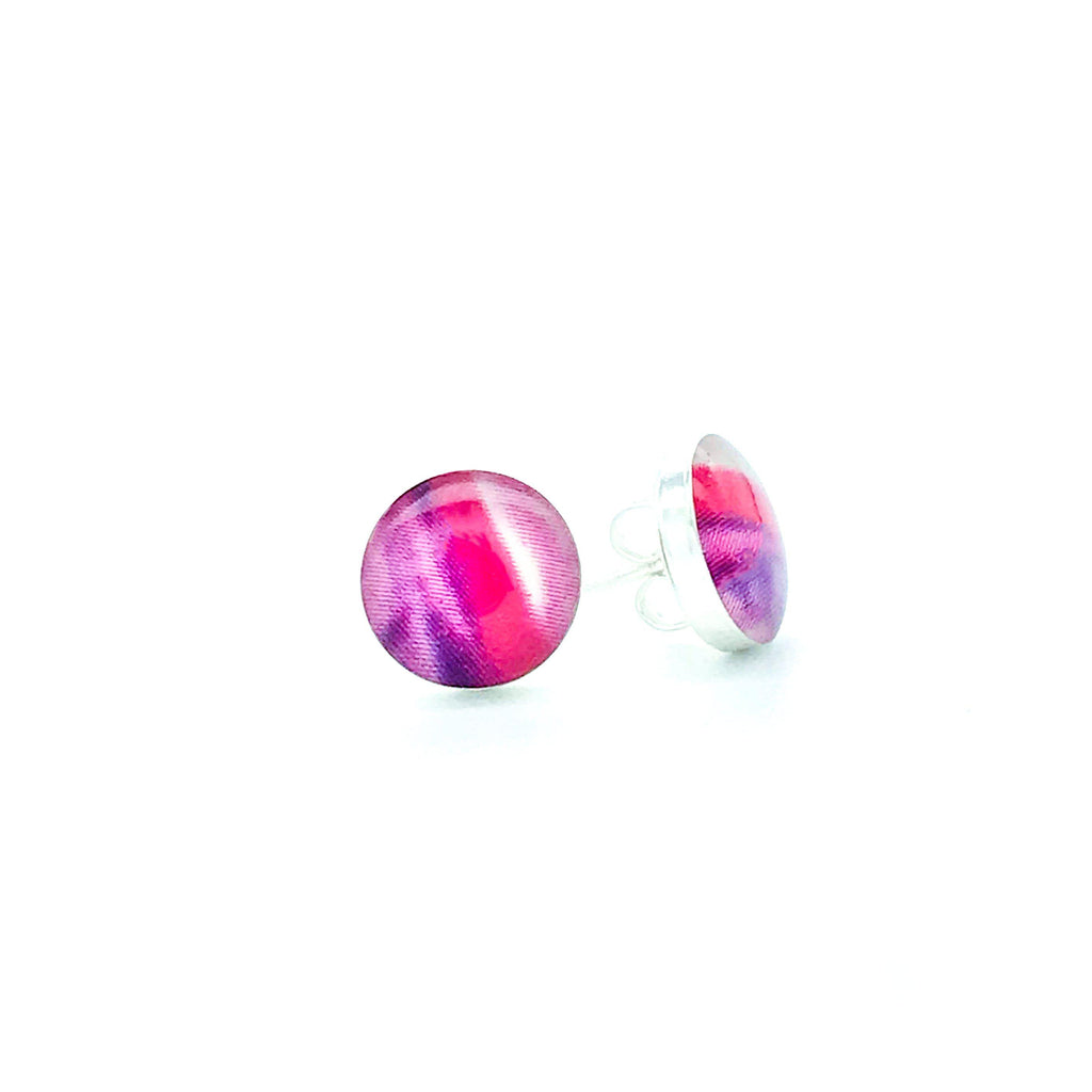sterling silver studs with purple pink and red images set in resin post earrings