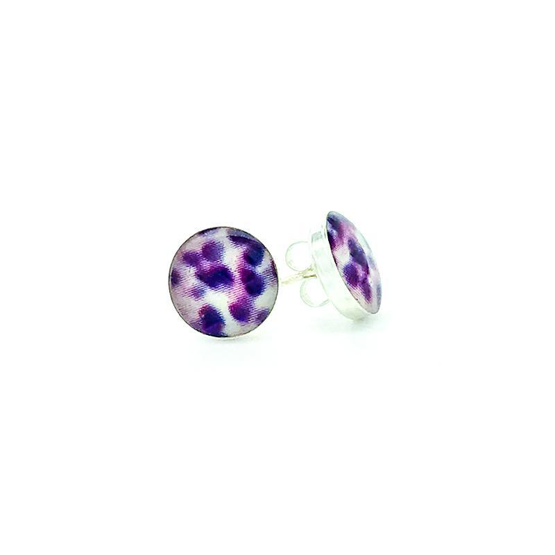 sterling silver studs with purple and white images set in resin post earrings
