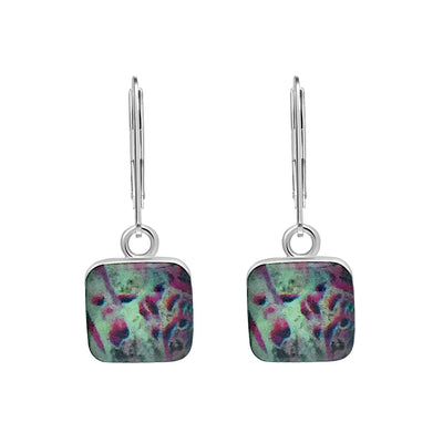mint green and pink liver cancer and disease awareness earrings in sterling silver and square shaped resin pendants give back to research